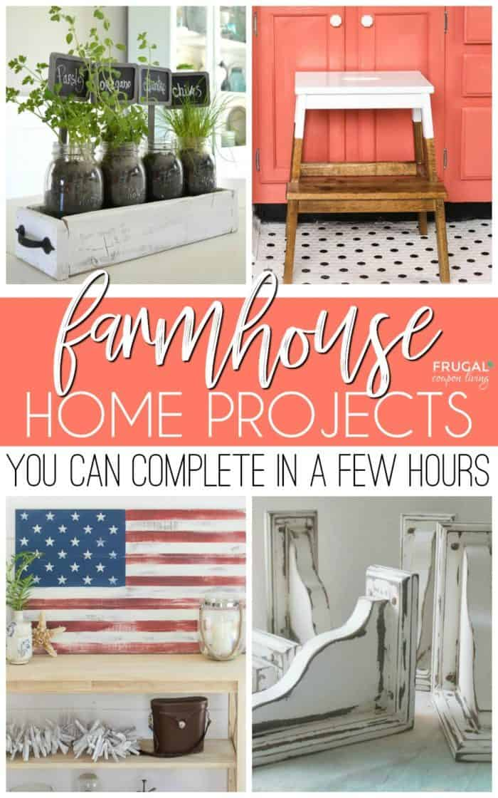 Weekend DIY Farmhouse Projects you can complete in a few hours. Creative Joanna Gaines inspired easy farmhouse decor that looks like it's straight from episodes of Fixer Upper. #FrugalCouponLiving #fixerupper #diyfarmhousedecor #diyfarmhouseprojects #farmhousedecor #farmhouseprojects #diy #home #homedecor #farmhouse #joannagaines #fixerupperideas #fixerupperprojects #farmhousestyle #upcycled #chalkpaint #homedecor #homemade #homestyle #upcycledfurniture #farmhousetable #diyfarmhousetable #farmhousedecor #joannagainesstyle #joannagainesdecor #joannagainesfurniture