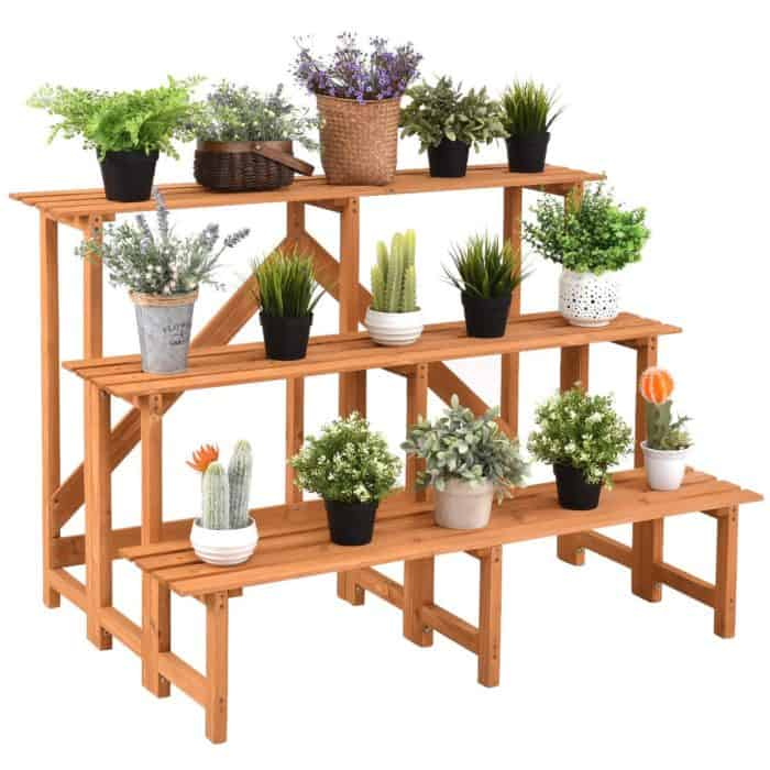 This 3 Tier Beautiful Costway Wood Step Design Plant Stand Is Nice Looking And Attractive It S A Perfect Place For Your Favorite Plants Books