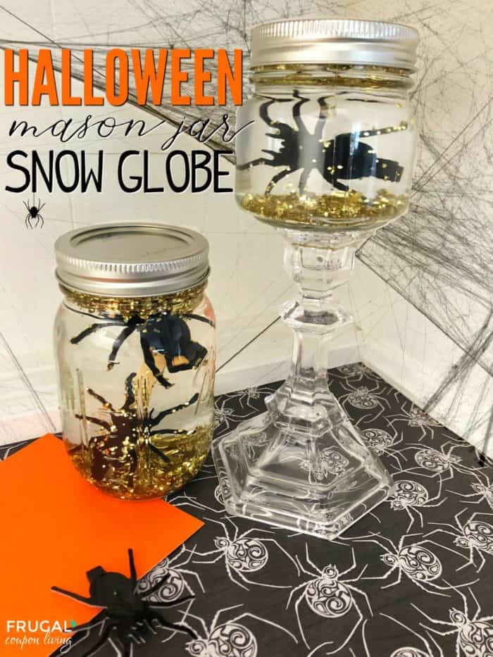 Create your own DIY Halloween Mason Jar Snow Globes. These homemade snow globes go outside the traditional winter craft and convert into a spooky Halloween Craft. #FrugalCouponLiving #Halloween #halloweencraft #masonjar #masonjarcraft #snowglobe #masonjarsnowglobe #halloweensnowglobe #upcycle #upcyclecraft