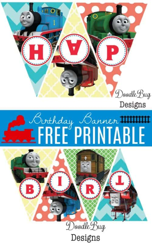 Download Your FREE Printable Train Birthday Banner Happy