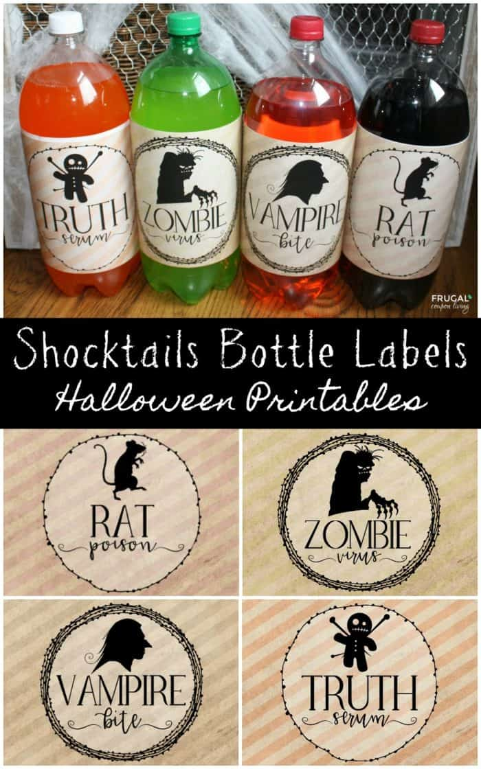 Halloween Shocktails Bottle Labels for 2-Liter Soda