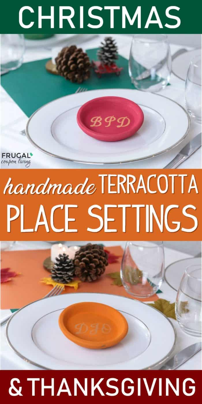Handmade Terracotta Place Settings for your Christmas and Thanksgiving Tablescapes. This clay pot plant saucers craft is easy and add the cutest touch to the holiday table. DIY place cards. #FrugalCouponLiving #Thanksgiving #Christmas #tablescape #placesettings #Christmascraft #christmastablescape #thanksgivingcraft #thanksgivingtablescape #placecard #diyplacecard #namecard