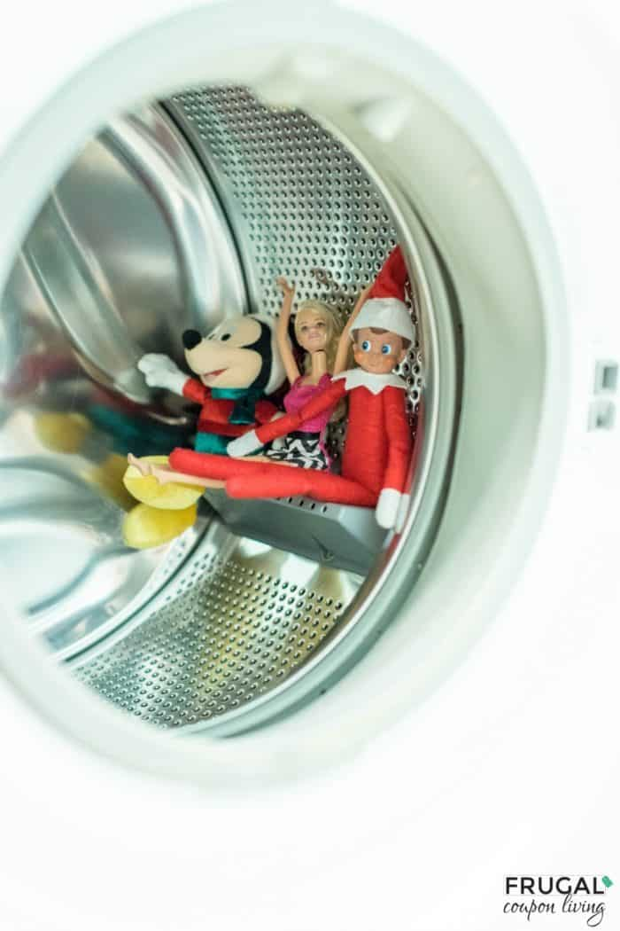 Elf found some friends and is on a roller coaster ride in the dryer!  | Easy Elf Ideas | Free Elf on the Shelf Printables #FrugalCouponLiving #ElfontheShelf #ElfontheShelfIdeas #ElfIdeas #funnyelfideas #funnyelfontheshelf #elfprintables #freeelfprintables #printables #freeprintables