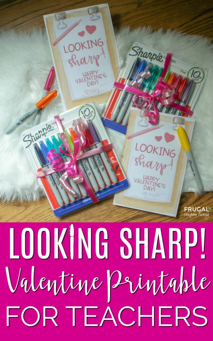 Looking Sharp Sharpie Valentine for Teachers. Free printable for an educator that has made a permanent impact #FrugalCouponLiving #Freeprintable #freevalentine #teacher #teachervalentine #lookingsharpvalentine #sharpie #sharpievalentine #freedownlaod #printables #valentines #valentinesday #valentinesgifts #teachergifts #teachergiftideas #teacherappreciation #teacherappreciationgifts #sharpieart #sharpiecrafts