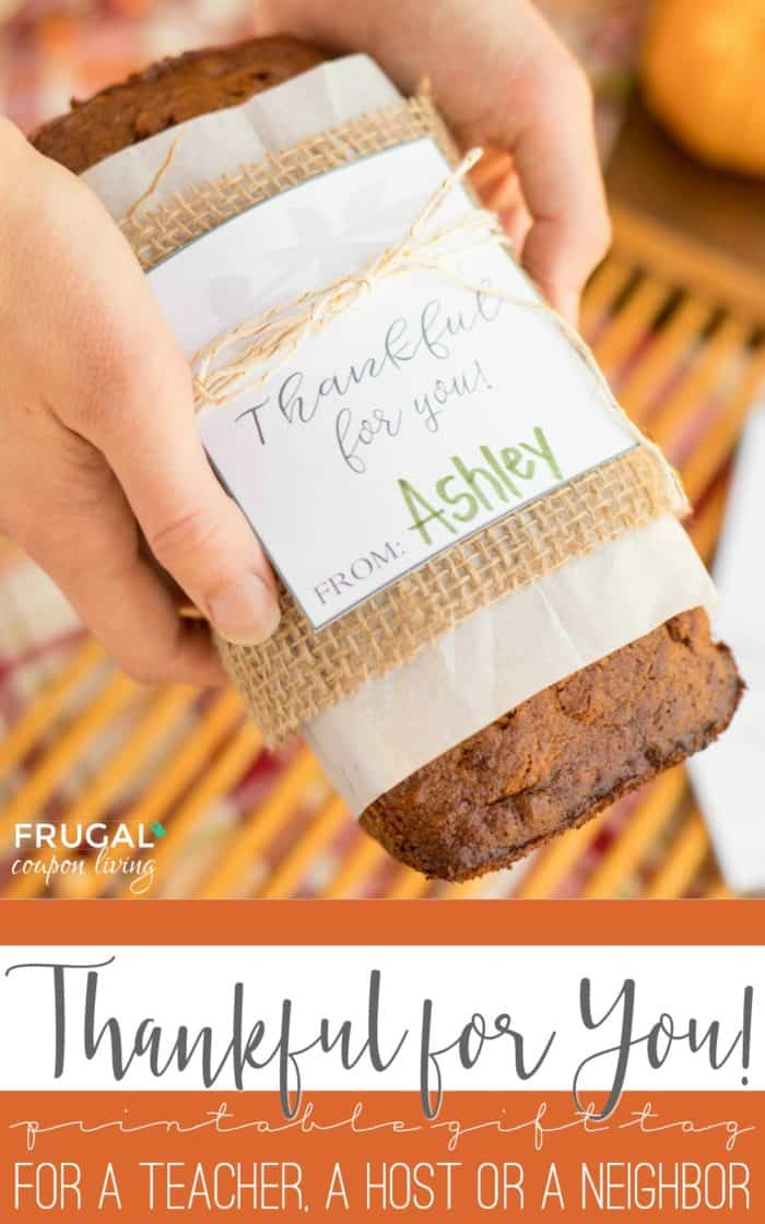 Thankful for You Gift Tag and Thanksgiving Teacher Gift Idea