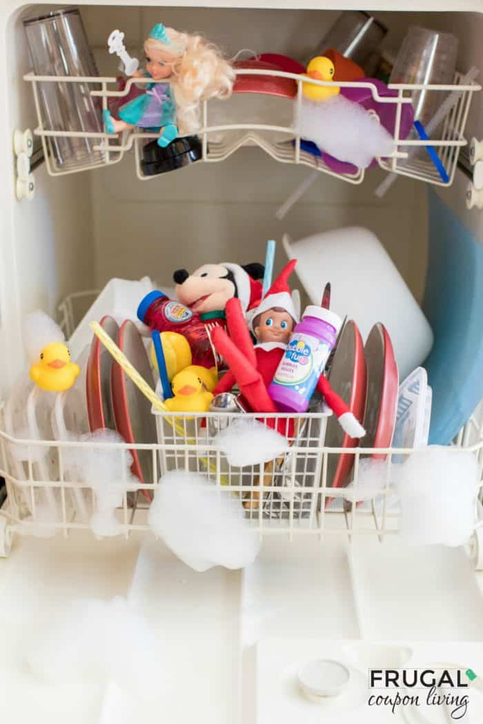 Easy Elf on the Shelf Dishwasher Idea. Bubble Recipe. Free Elf Printables. #FrugalCouponLiving #ElfontheShelf #ElfontheShelfIdeas #ElfIdeas #funnyelfideas #funnyelfontheshelf #elfprintables #freeelfprintables #printables #freeprintables