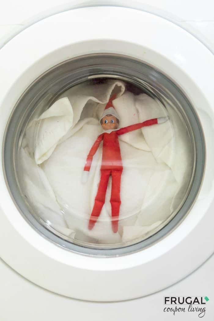 Elf in the Washing Machine | Free Laundry Elf on the Shelf Printable | Elf on the Shelf Ideas. #FrugalCouponLiving #ElfontheShelf #ElfontheShelfIdeas #ElfIdeas #funnyelfideas #funnyelfontheshelf #elfprintables #freeelfprintables #printables #freeprintables