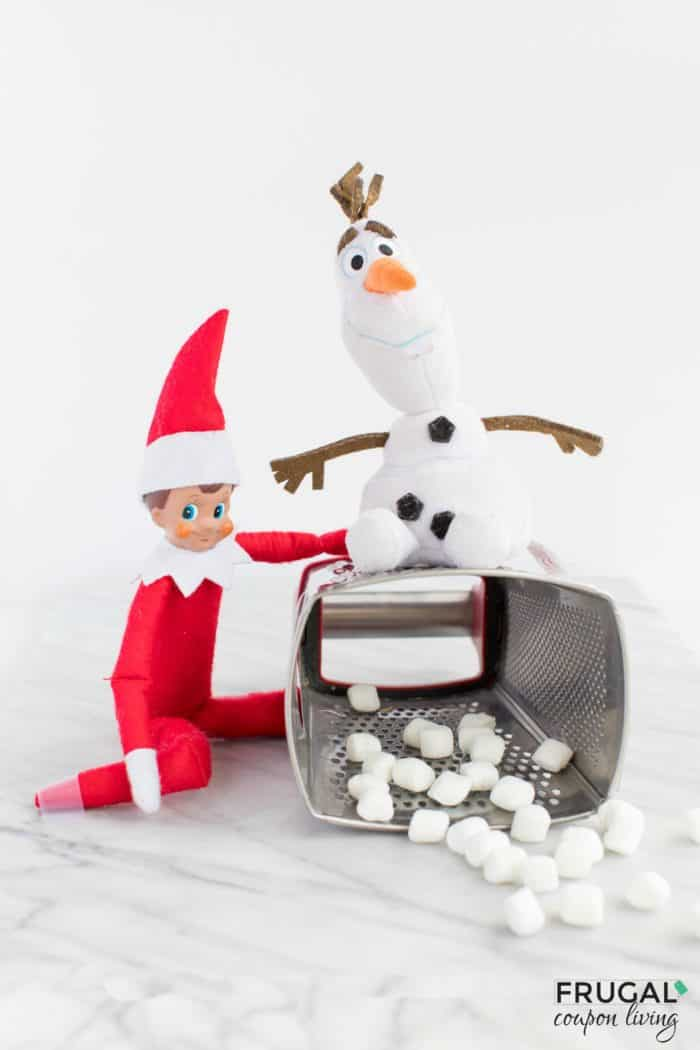 Snowman Cheese Grater | Easy Elf on the Shelf Ideas | Free Elf Printables | Mischievous Elf #FrugalCouponLiving #ElfontheShelf #ElfontheShelfIdeas #ElfIdeas #funnyelfideas #funnyelfontheshelf #elfprintables #freeelfprintables #printables #freeprintables #mischievouself