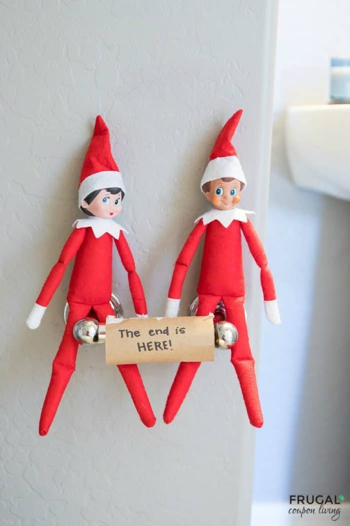 The end is near Elf Warning Idea. | Elf on the Shelf Ideas | Free Printables | Last Day Elf Idea #FrugalCouponLiving #ElfontheShelf #ElfontheShelfIdeas #ElfIdeas #funnyelfideas #funnyelfontheshelf #elfprintables #freeelfprintables #printables #freeprintables