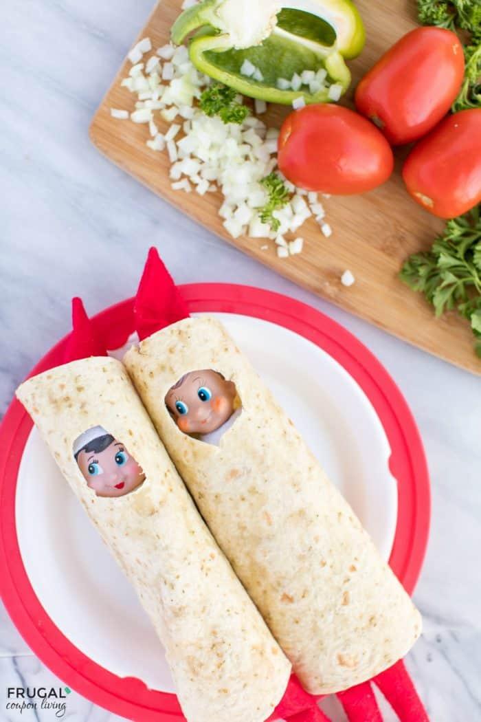 Elf Burrito wrapped in tortilla shells