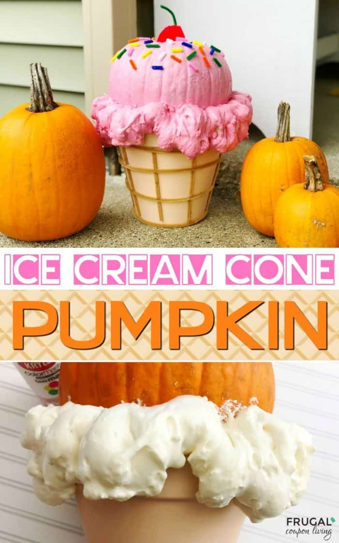 EasyIce Cream Cone Pumpkin tutorial. An adorable idea for an October birthday celebration. Halloween Decorations that are a step above traditional carving. #FrugalCouponLiving #Icecreamconepumpkin #Pumpkin #Pumpkintutorial #jackolanterntutorial #icecreamparty #icecream #icecreamcone #pumpkindecor #jackolantern #Jackolanterntutorial #Halloween #halloweenpumpkin #Ocotober #octoberbirthday #birthdayparty #birthdaypartyideas #octoberbirthdaypartyideas #Icecreamconepumpkin
