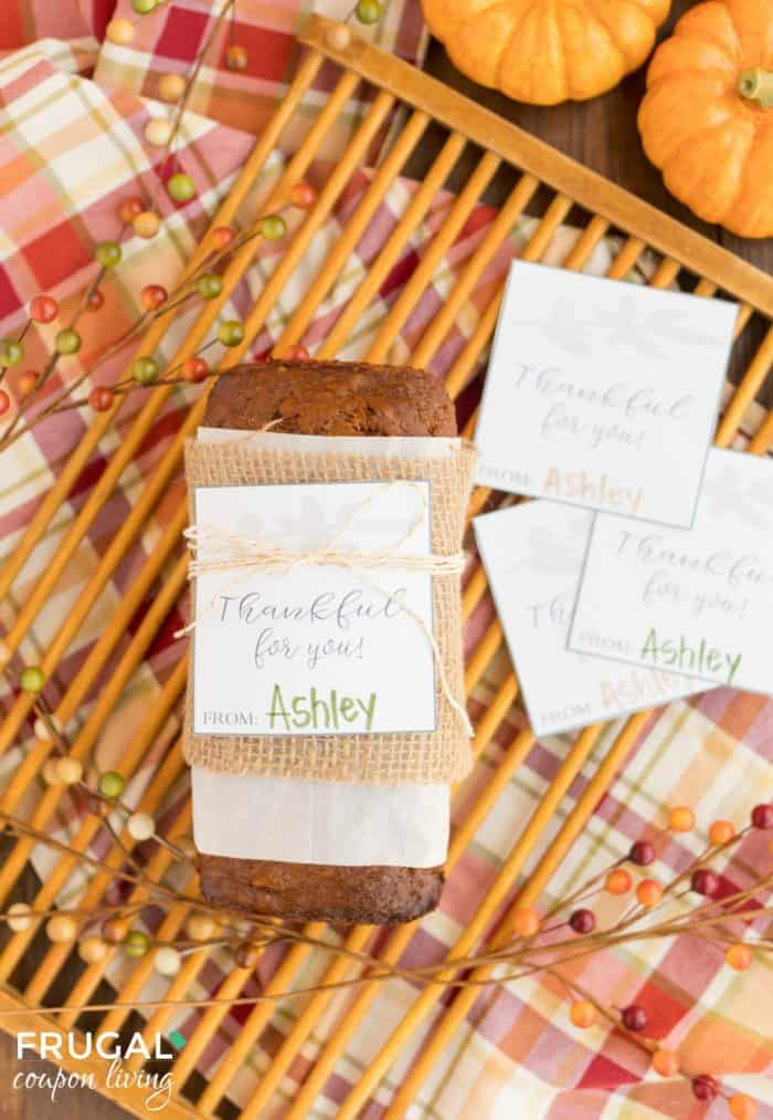 Thankful for You Gift Tag and Thanksgiving Hostess Gift Idea