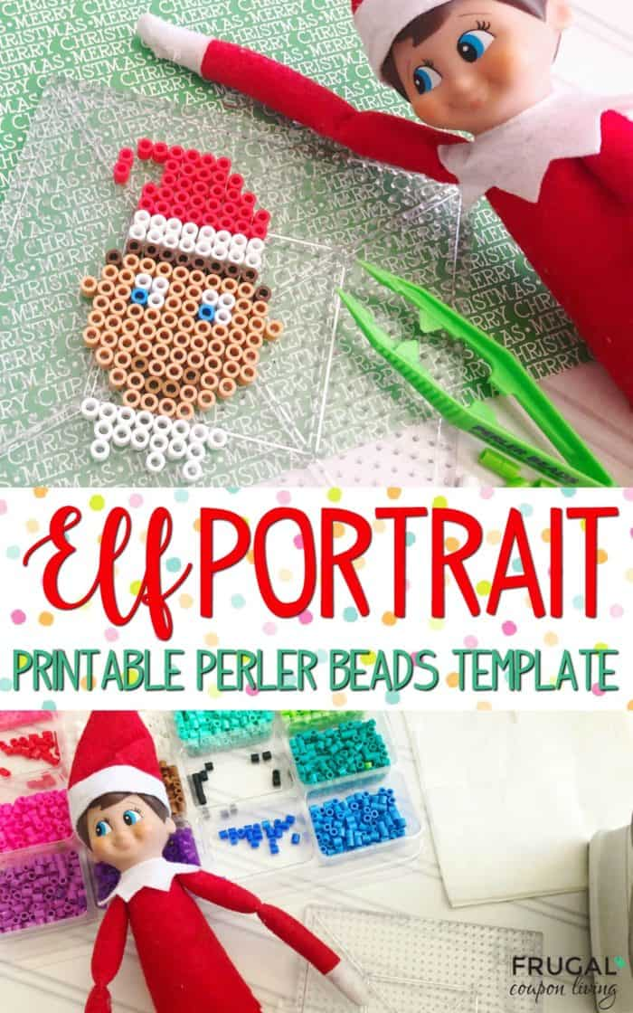Elf on the Shelf Portrait with Perler Beads printable template for easy crafting. Daily Elf on the Shelf Ideas and free printables. #FrugalCouponLiving #ElfontheShelf #ElfontheShelfIdeas #ElfIdeas #funnyelfideas #funnyelfontheshelf #elfprintables #freeelfprintables #printables #freeprintables #PerlerBeads #PerlerBeadsTemplates #PerlerBeadsideas #portrait