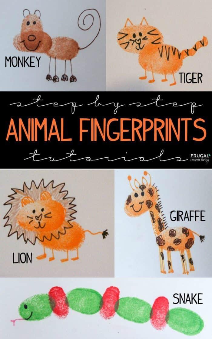 Zoo Animals Fingerprint Art for Kids