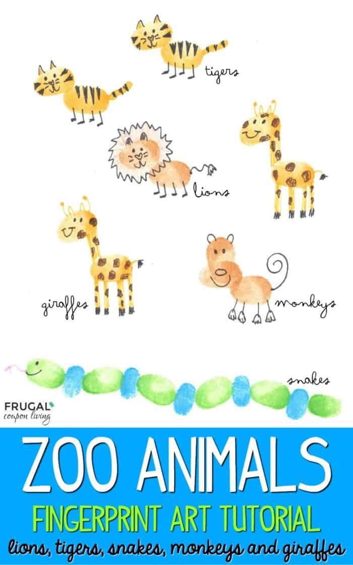 Zoo Animals Fingerprint Art Tutorial for Kids