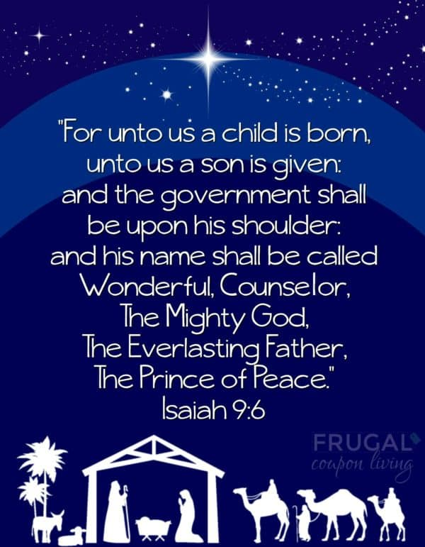 Isaiah 9:6 Printable For Unto Us a Child is Born