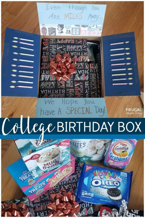 College Birthday Care Package with Themed Birthday Cake Food