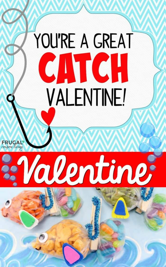 Free You're a Great Catch Printable + Dollar Store Valentine Craft with Goldfish and Mike and Ike Candy.  #FrugalCouponLiving #valentinesday #valentinescards #printables #freeprintables #mikeandike #goldfish #youreagreatcatch #valentinesdayprintable #dollarstore #dollartree #dollarstorecraft #craft #diy #valentinescards