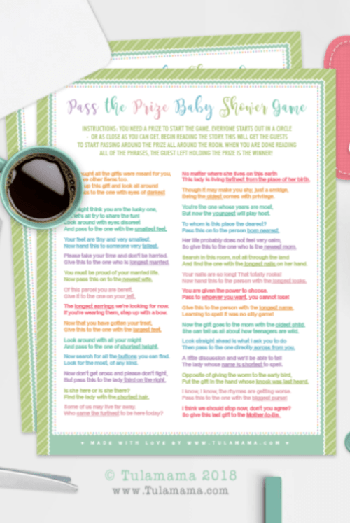graphic regarding Pass the Prize Baby Shower Game Free Printable known as 20 Little one Shower Online games Printables Yourself Will Literally Appreciate