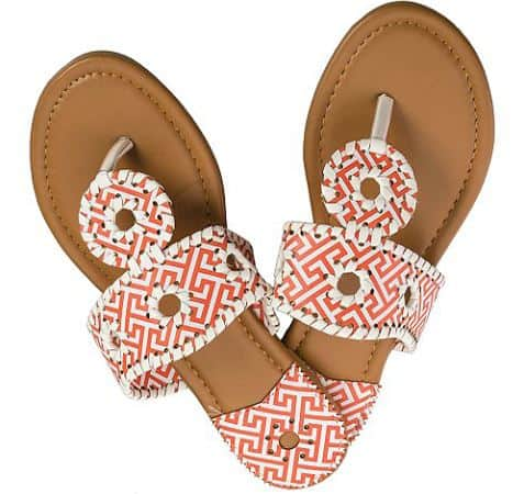 8c55fdbfe9ba And, treat yourself to new sandals during the Lexi York sale. I love the  style of these Orange & White Geometric Juliet Sandals, and the bright  orange color ...