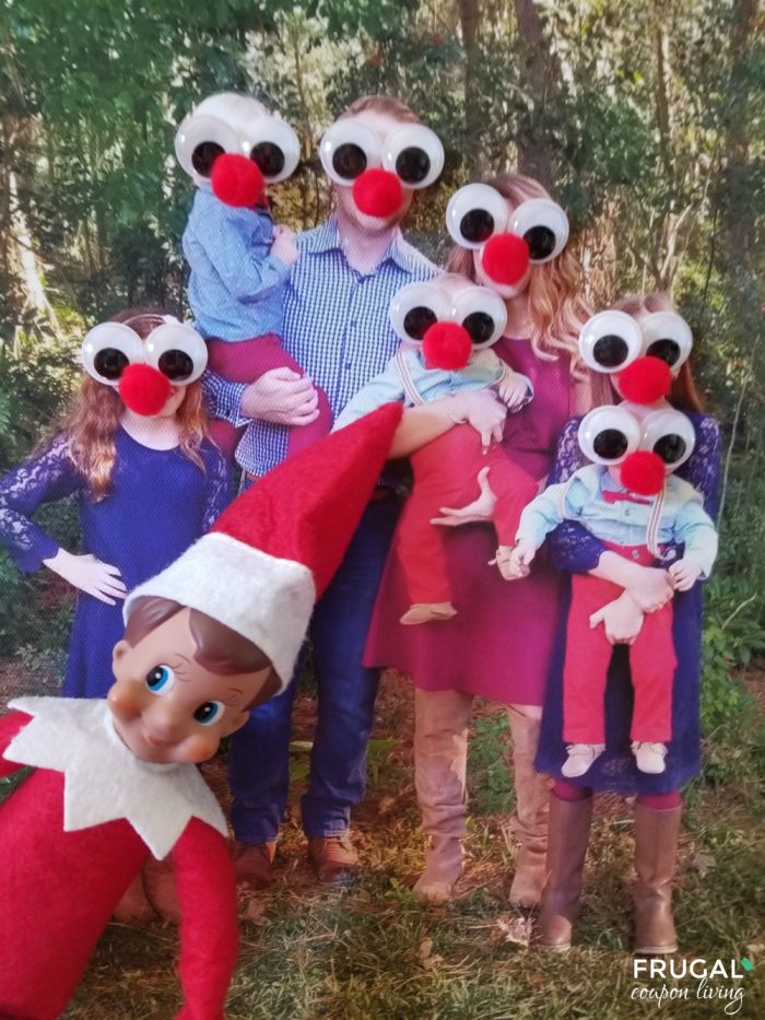 Elf on the Shelf Ideas Rudolph Family Red Pom Pom and Googly Eyes