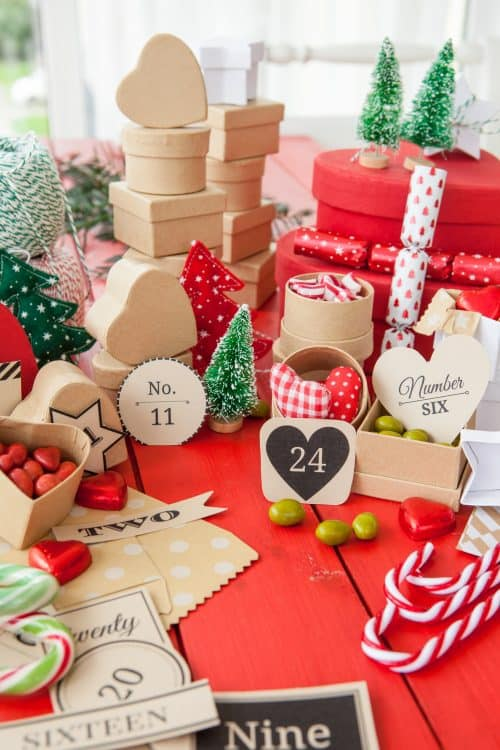 Advent Calendar Boxes filled with Candy Hearts Squares Stars