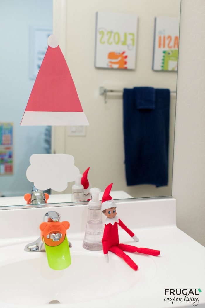 Elf on the Shelf Craft - Santa in the Mirror Bathroom Idea