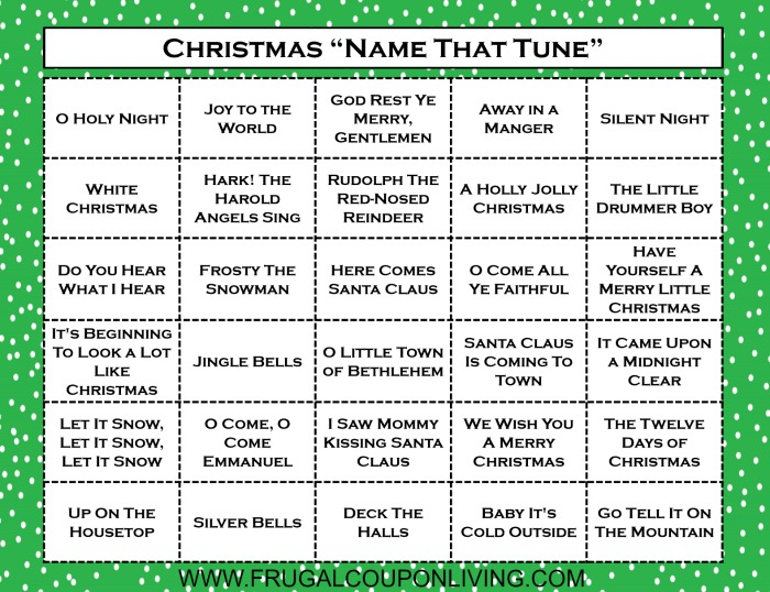 Christmas Name that Tune Game Printable