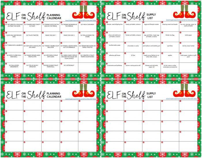 Elf on the Shelf Printable Calendar of Ideas