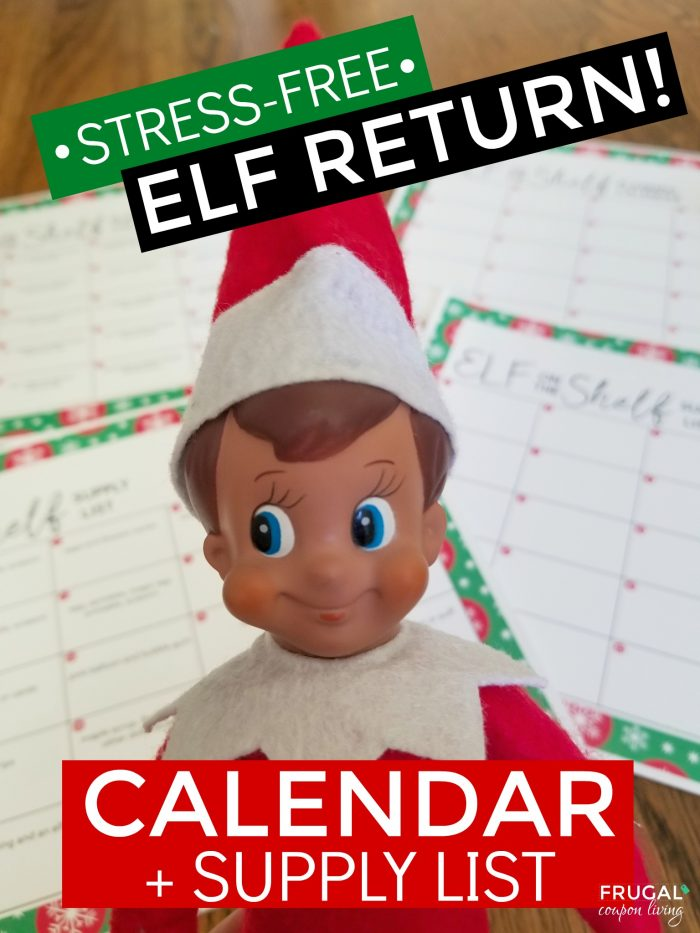 Elf on the Shelf Ideas Calendar and Supply List
