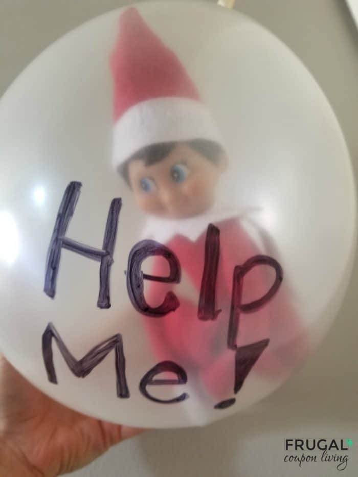 elf on the shelf trapped in a balloon help me