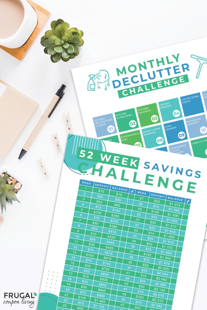 Monthly Declutter Checklist and Savings Challenge