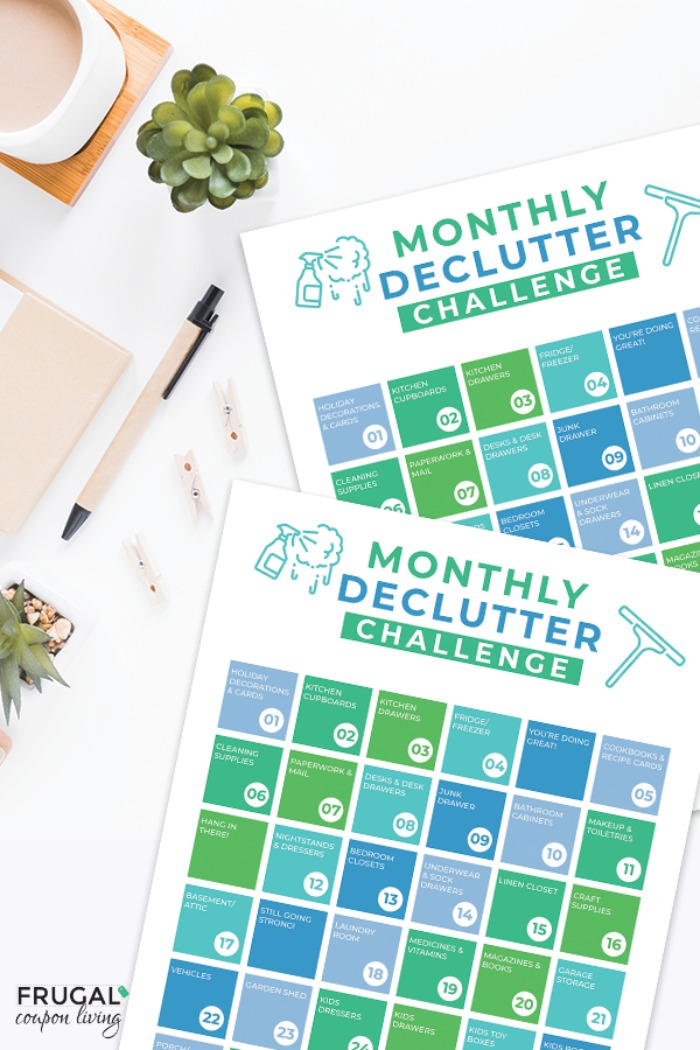 Home Organization Monthly Declutter Checklist