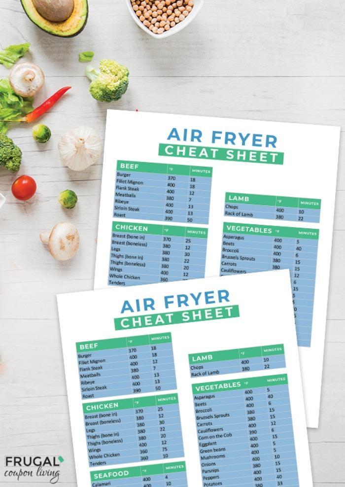 Air Fryer Cheat Sheet PDF