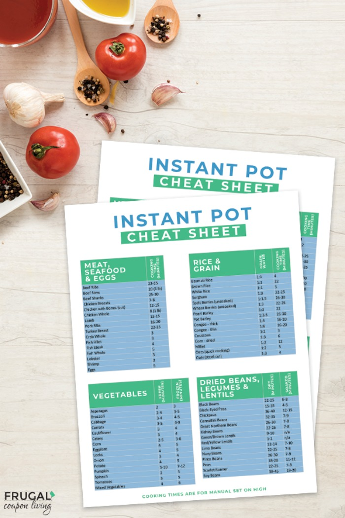 Instant Pot Cheat Sheet Printable and Download