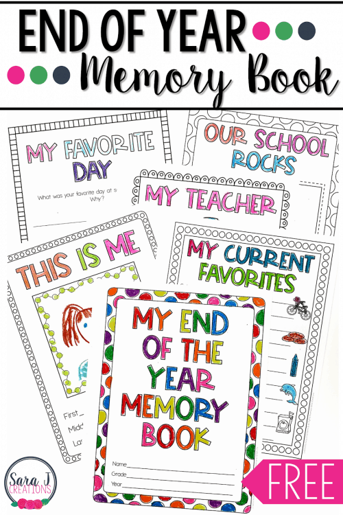 End of the Year School Memory Book