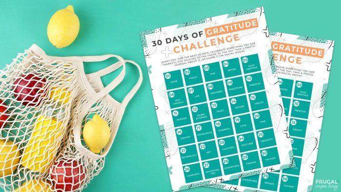 30 Day Gratitude Challenge Printable