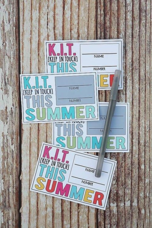 KIT Keep in Touch Printable