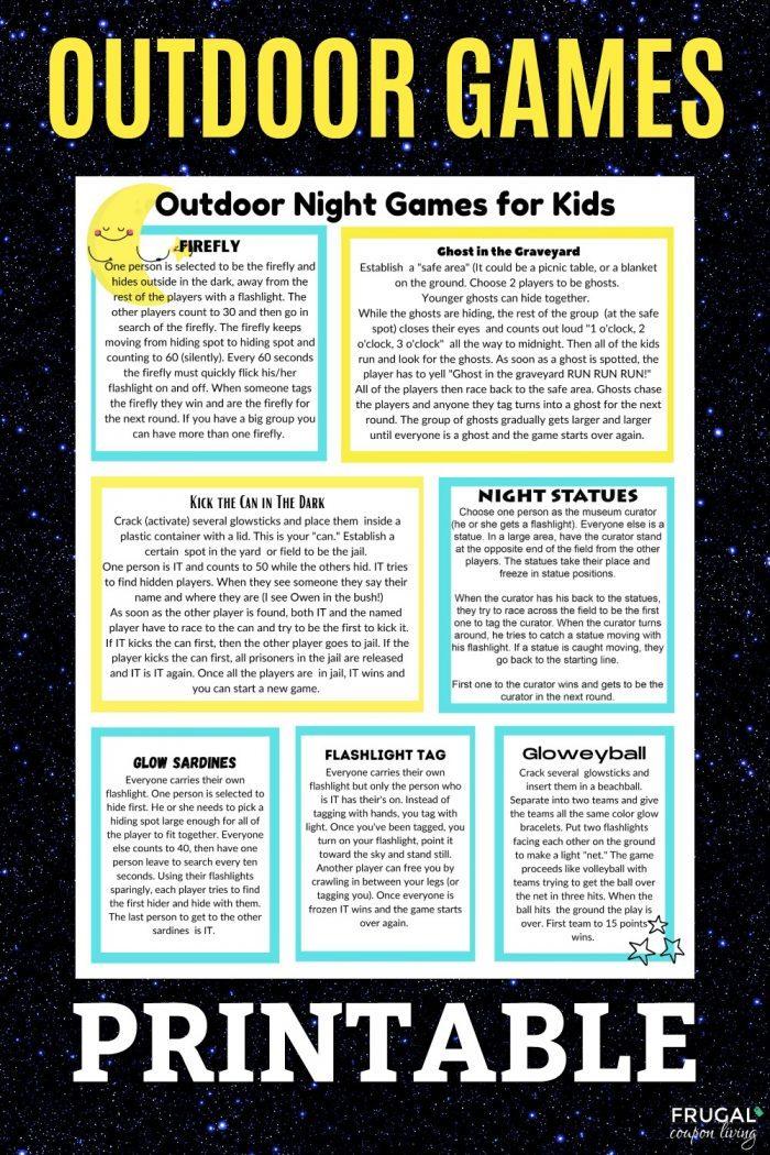 Outdoor Games for Kids Printable + Flashlight Scavenger Hunt