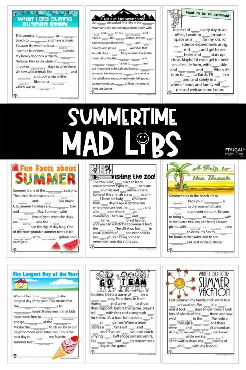 Summer Mad Libs Printables