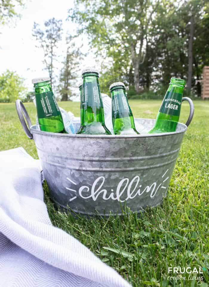 DIY Party Beverage Tub in a backyard outdoors
