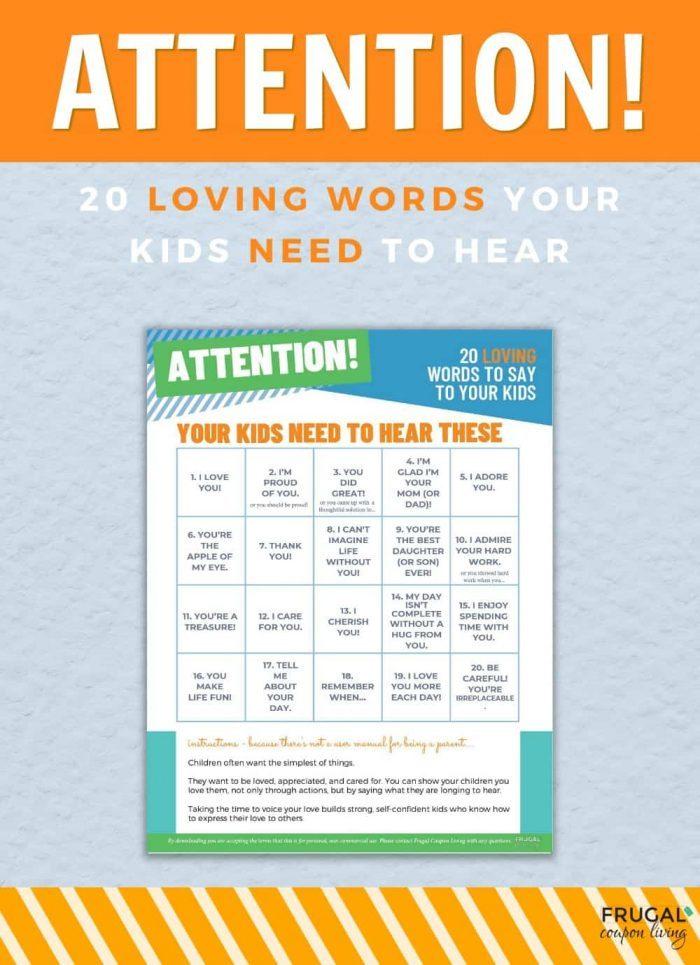 Loving words of affirmation for Children