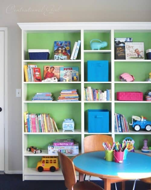 IKEA Billy Bookcase Playroom Idea with Green Paint