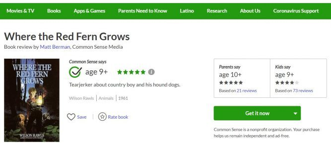 where the red fern grows common sense media review