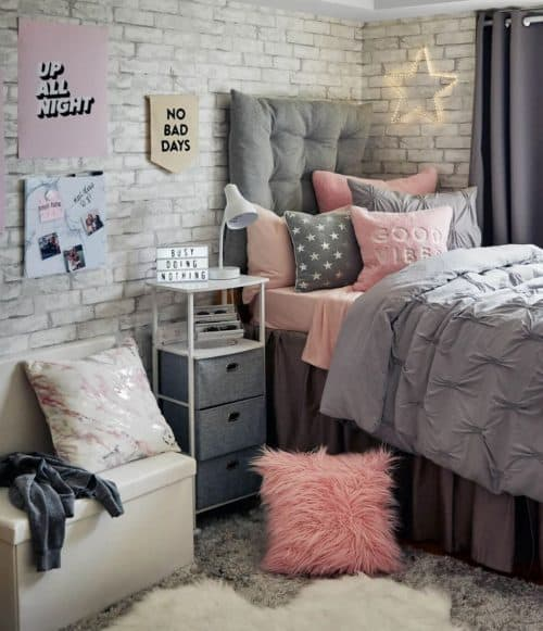 Peel & Stick White Brick Wallpaper plus College Dorm Decor Ideas