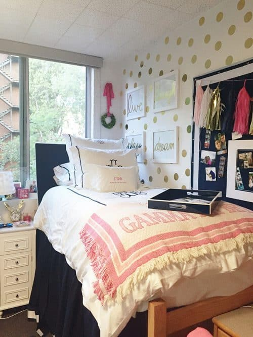 College Dorm Room Decor with Polka Dot Vinyl Wall