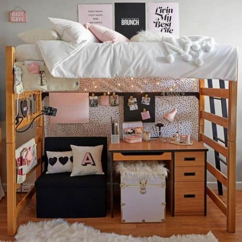 College Dorm Decor Ideas - Storage Bench