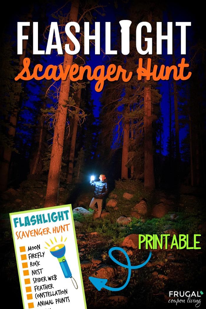 Outdoor Flashlight Scavenger Hunt Printable for Kids