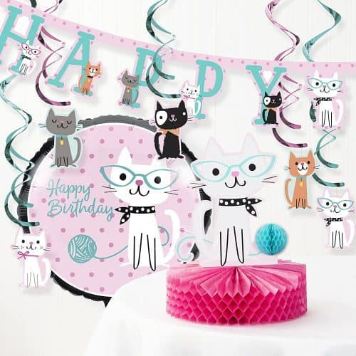 Cat Party Decor with Birthday Banner and Cat Party Ideas