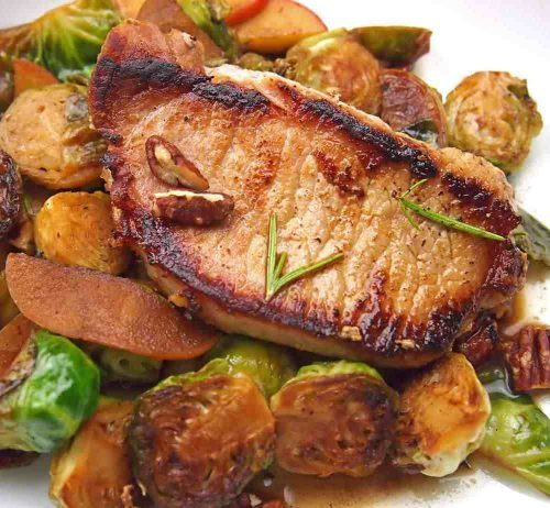 Fall Recipe Cider-Braised Pork with Apples and Brussels Sprouts